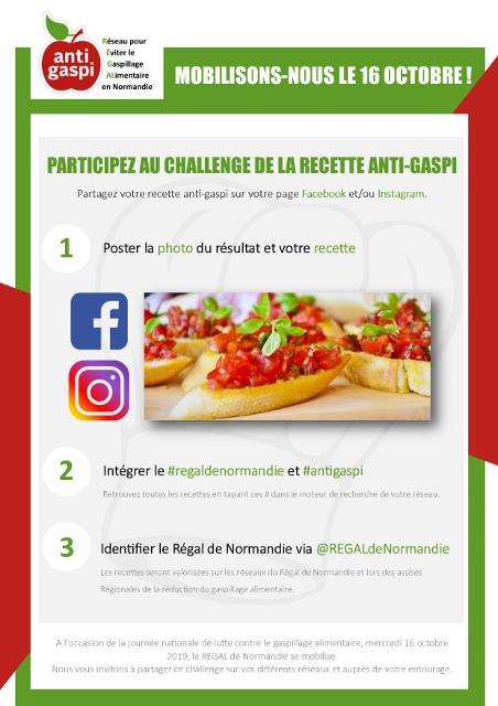 Affiche Challenge recette antigaspi REGAL - Pour une mobilisation normande le 16 octobre 2019